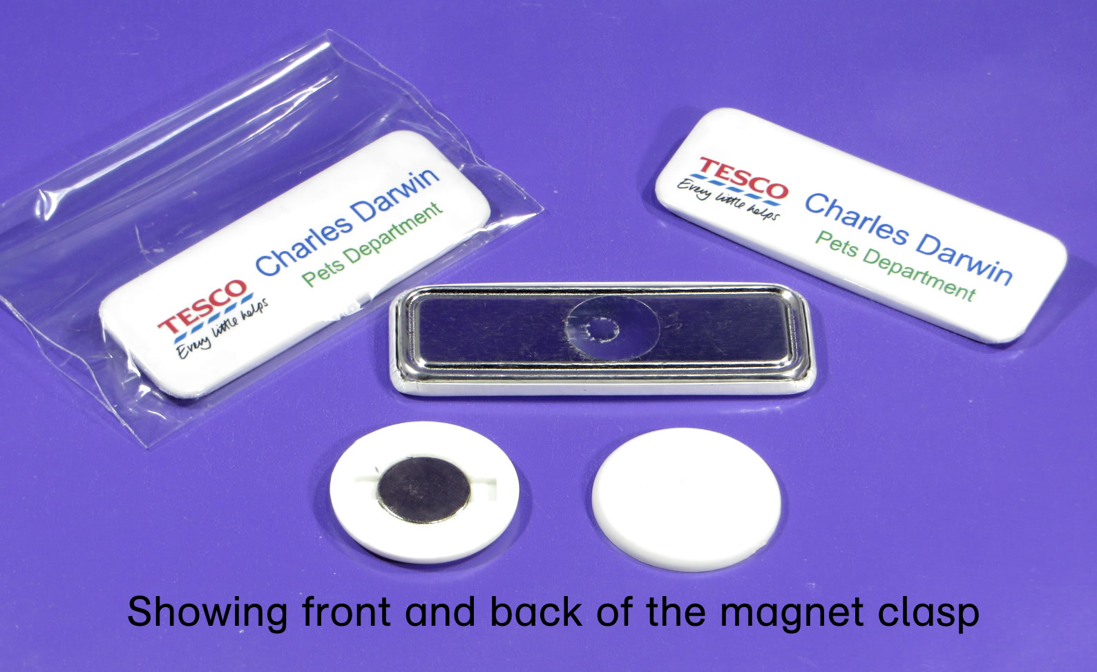 showing the magnet name badge with clasp view