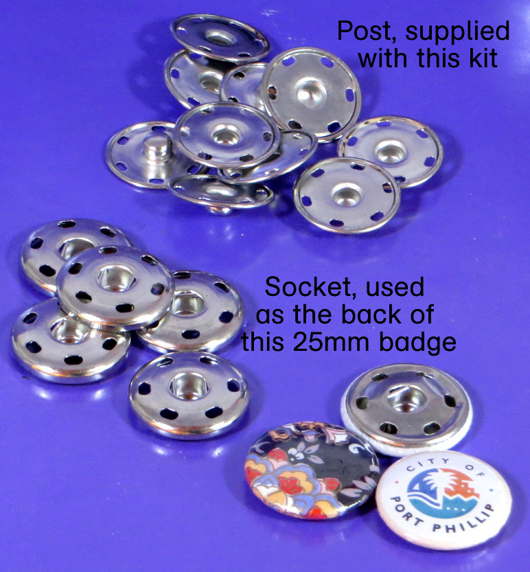 25mm badge with post and socket