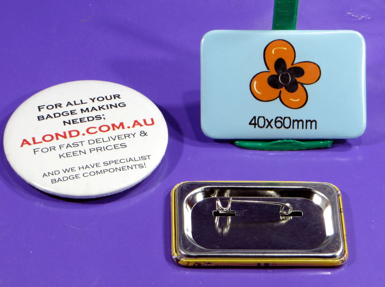 40 x 60 pin-back name badge, makes a great statement
