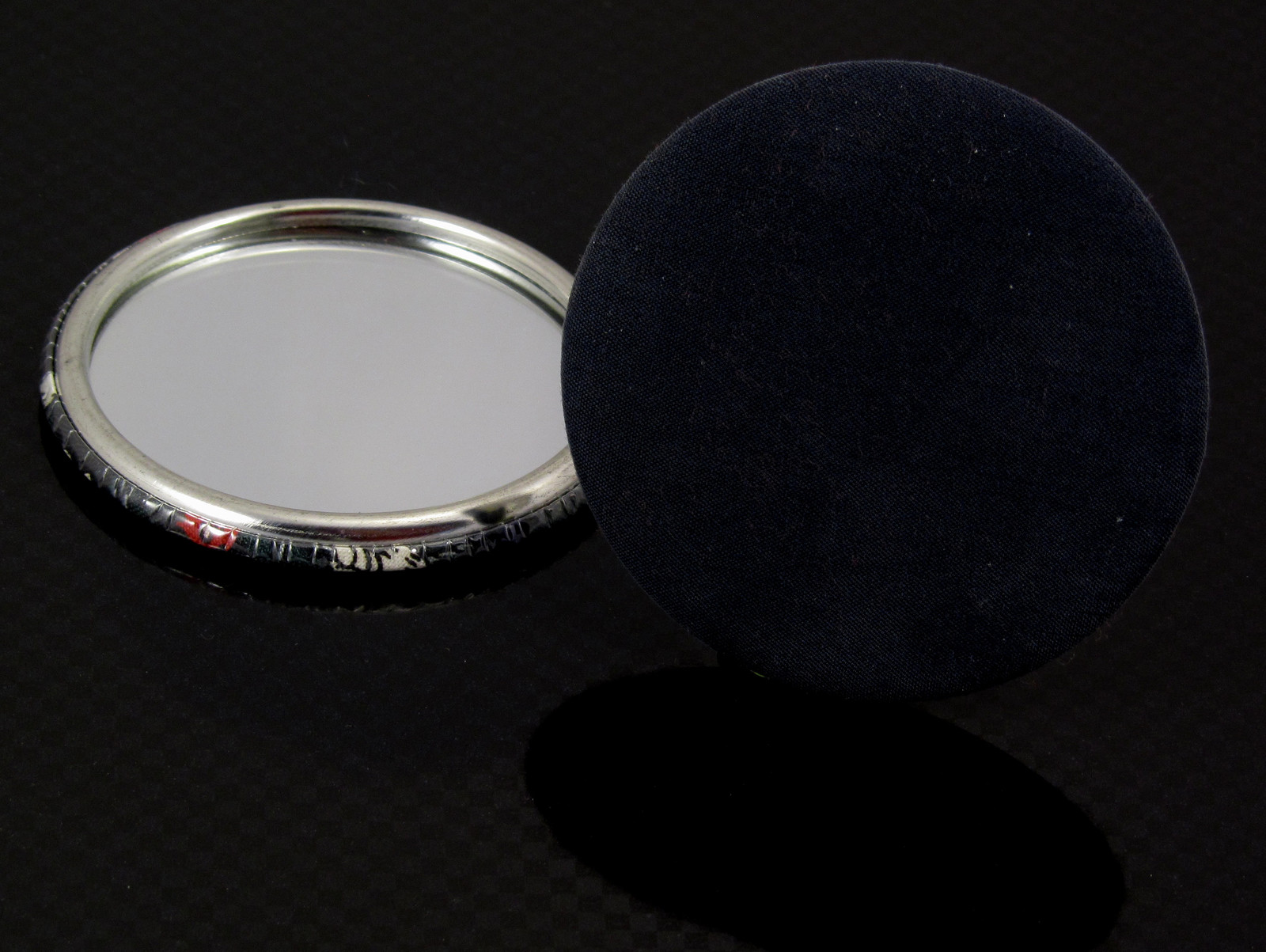 58mm mirror backed and FABRIC covered lipstick mirror badge
