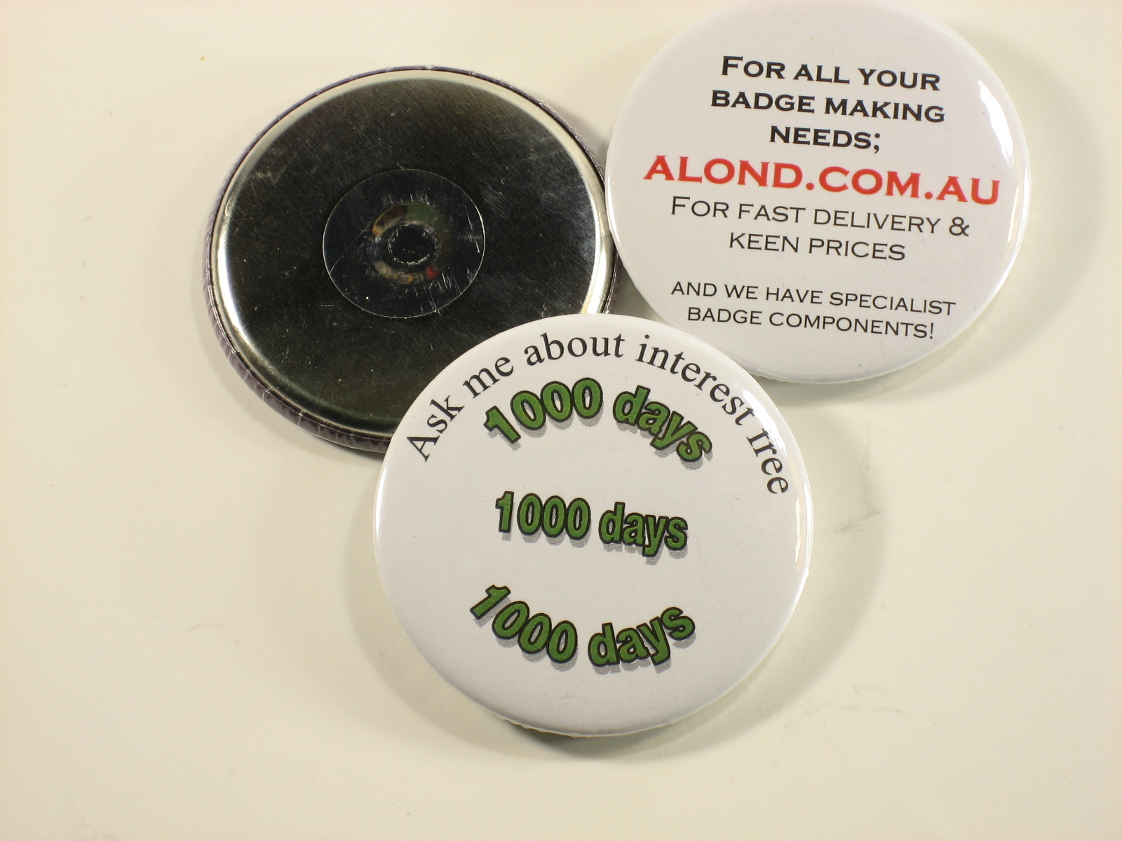 3 inch fridge magnet, otherwise a 75 mm magnet backed badge