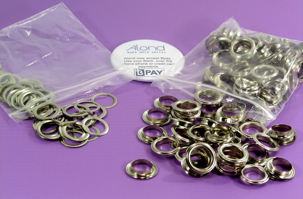 14 mm size grommets and washers, suitable for the Alond eyelet machine