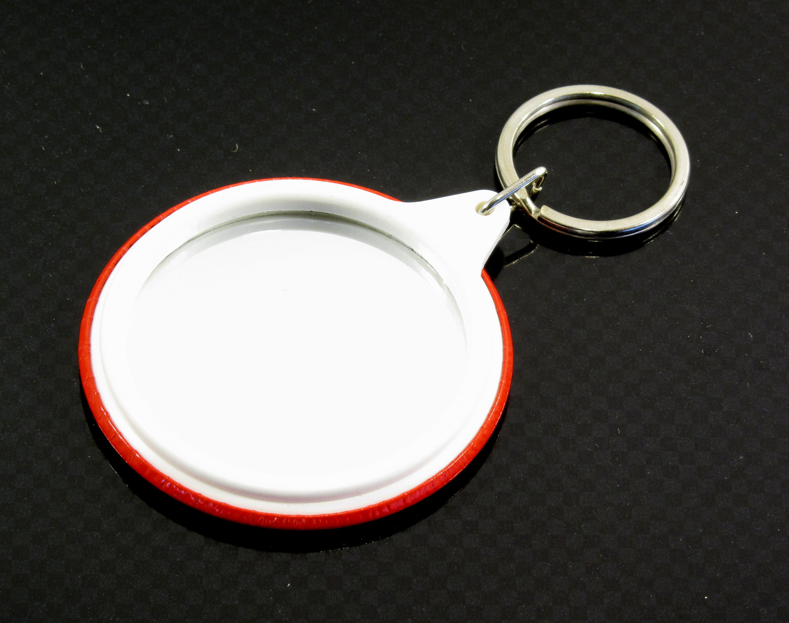 58 mm mirror badge key ring, just add your artwork to the front!