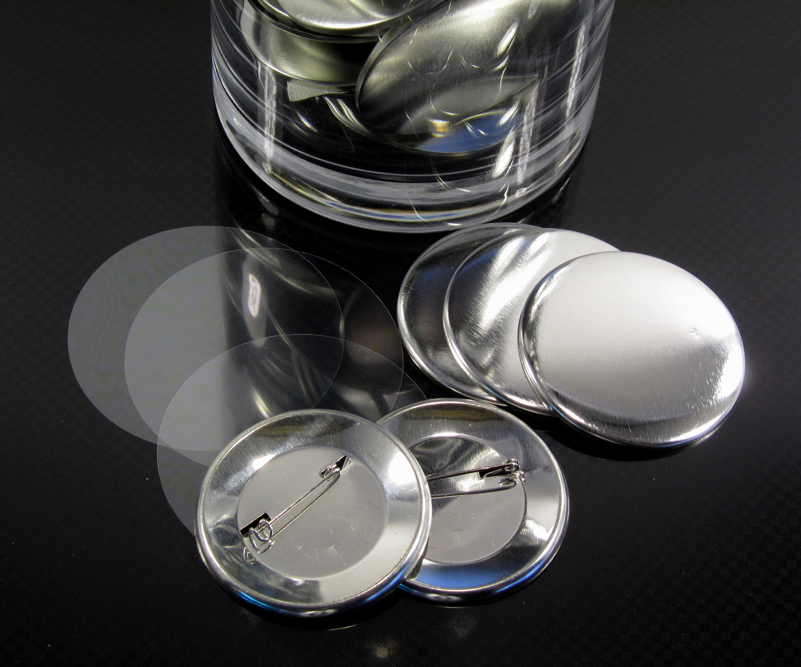 Mylar, metal back and shell for 58 mm badge