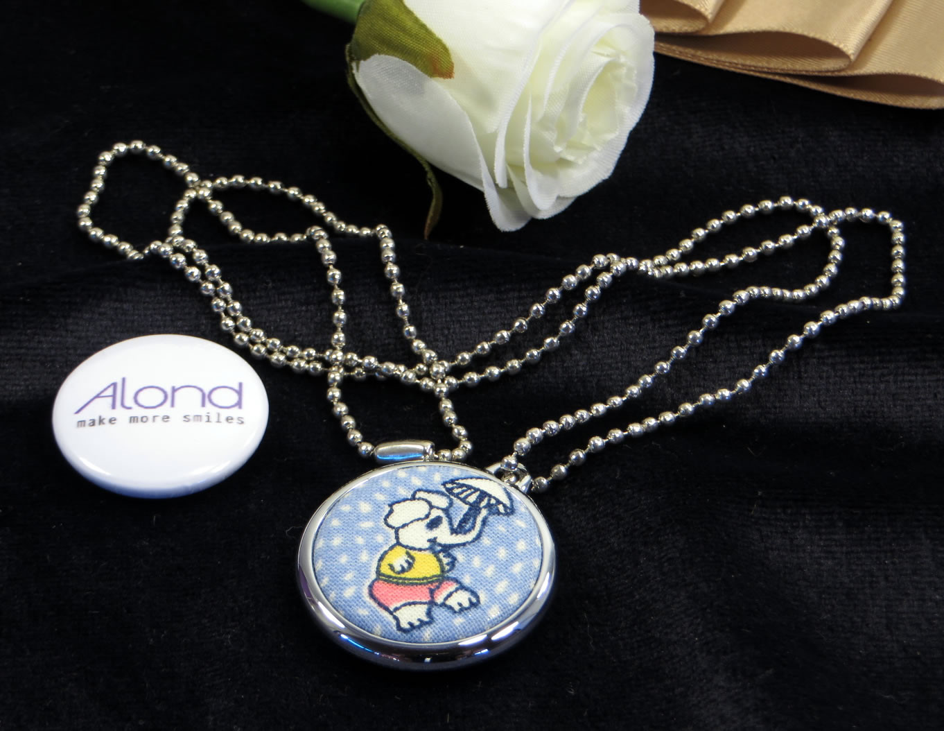 Chrome badge necklace pendant for your 25mm alond machine