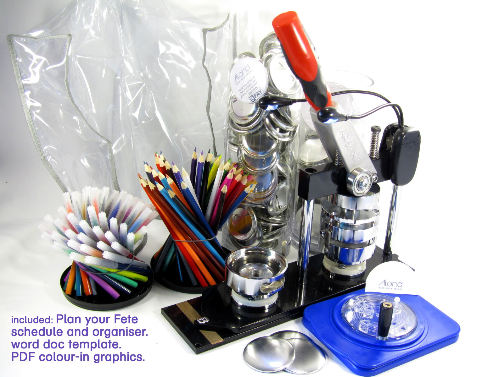 Fete organizing day pack including badge machine and badge components