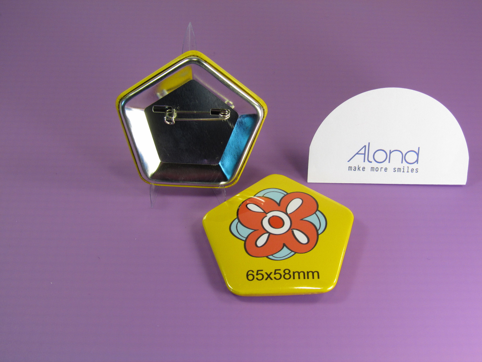 A pentagonal or 5 sided pin badge, very unusual in a pentangle shape