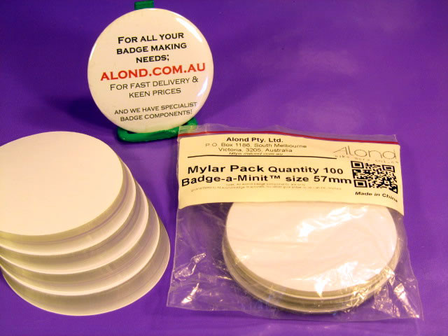 Mylar for 57mm compatible badge, for badge-a-minute and Mills machines