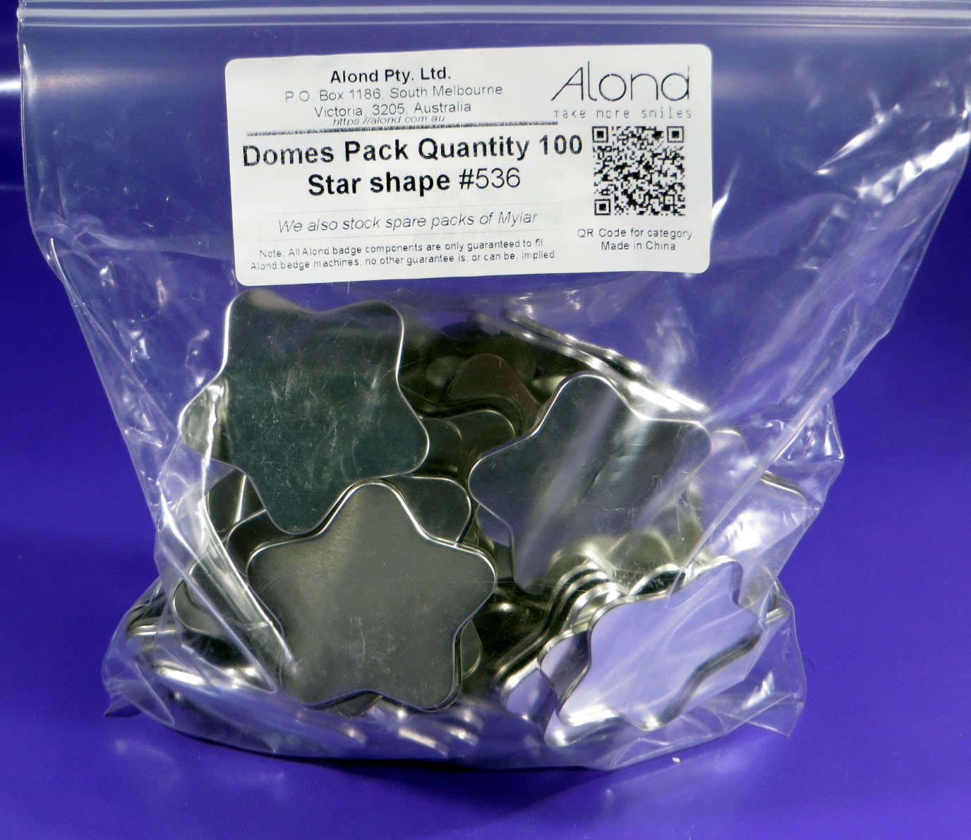 star shape domes (shells) for Alond badge makers
