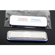 Magnetic 25mm x 70mm badge, ideal if you don't want pin holes in your shirt!
