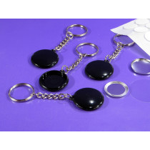 25mm Single Side keyring badge with black body  (pack of 50)