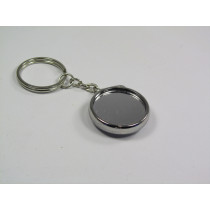 25mm Double Side Chrome Button keyring with mirror  (pack of 50)