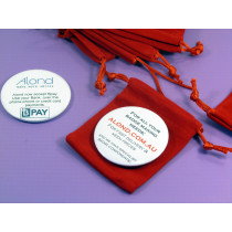 These red drawstring pouches are excellent to upgrade the presentation quality of your mirror badge product