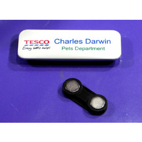 25 x 70mm rectangle metal name badge components kit with twin magnet and plate makes 100 badges