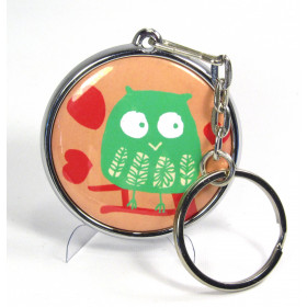 37mm badge chrome body keyring with mirror (pack of 50)