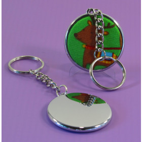 37mm Single Side keyring badge with chrome body  (pack of 50)