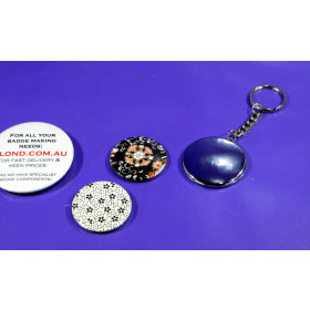 50 x Medium Button size pin badge Chrome keyring button REFILL We R Memory Keepers™ button compatible