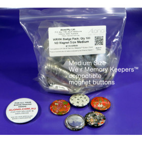 100 x Medium Button size pin badge ND Magnet button REFILL We R Memory Keepers™ button compatible