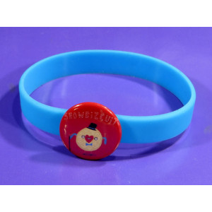 25mm badge with snap on silicone bracelet