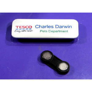 Alond 25 x 70mm rectangle metal name badge components kit with twin magnet and plate
