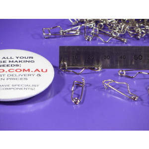 Pin Closing Safety Clasp badge Fancy crimp shaped 26mm *extras* (pack of 100)