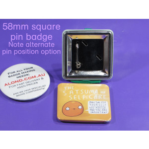 58mm by 58mm square pin-back-badge