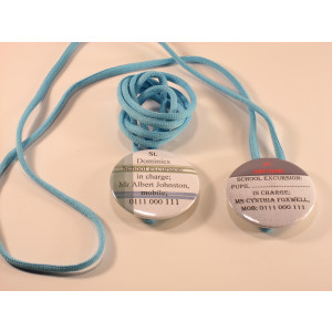 75mm conference badge with neck cord