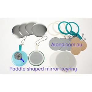 Mirror keyring with paddle shaped arm