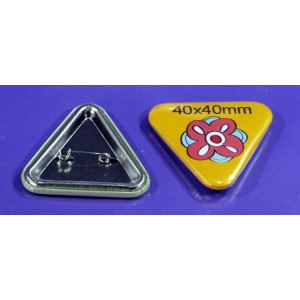 Triangle pin-badge close up view
