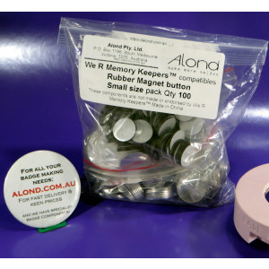 Small rubber magnet REFILL We R Memory Keepers™ button compatible Pack 100