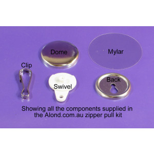 purse charm zipper pull 25mm badge with identifying labels alond.com.au
