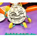 Badgebee™ compatible closeup cartoon badge with flexible arms and legs