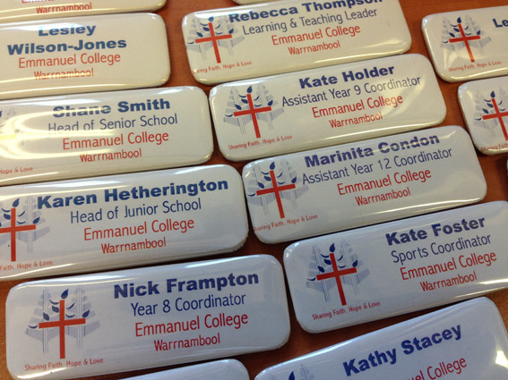 College name badges created using the Alond Badge making machine