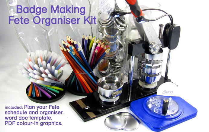 Badge maker Kit ready with all you need for your fete, click here for full details.